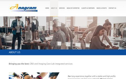 Screenshot of About Page anagram-esic.com - ANAGRAM 4 CLINICAL TRIALS - captured Nov. 6, 2018