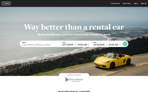 Screenshot of Home Page turo.com - Find a rental car alternative or earn money sharing your car | Turo car sharing marketplace - captured July 10, 2019