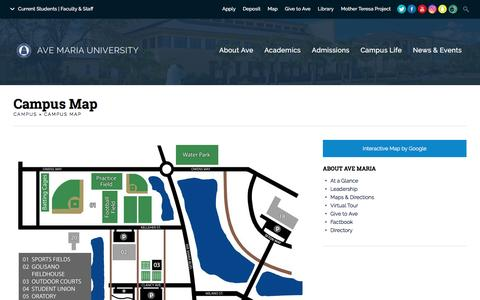 Screenshot of Maps & Directions Page avemaria.edu - Campus Map | Ave Maria University - captured Nov. 21, 2016