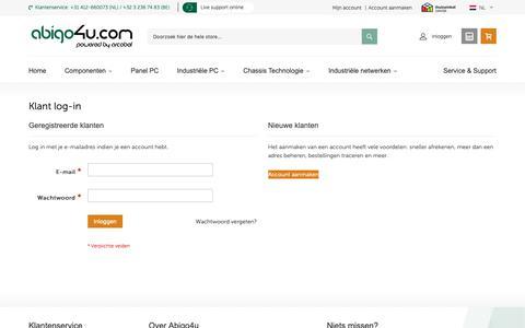 Screenshot of Login Page abigo4u.com - Klant log-in - captured Nov. 6, 2018