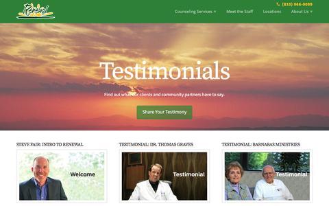 Screenshot of Testimonials Page renewalcenter.org - Testimonials | Renewal Christian Counseling Center - captured Nov. 30, 2016