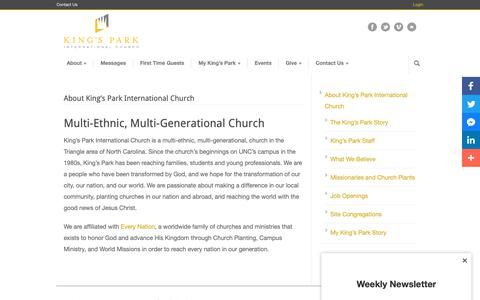 Screenshot of About Page kingspark.org - Multi-Ethnic, Multi-Generational Church | King's Park International Church - captured Nov. 15, 2018