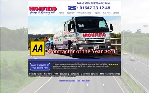 Screenshot of Home Page highfieldgarage.co.uk - Highfield Garage & Recovery LTD - captured Sept. 30, 2014
