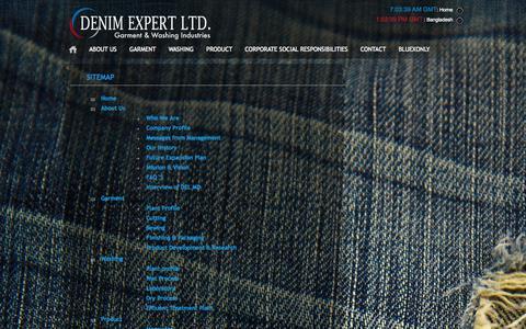Screenshot of Site Map Page denimexpert.com - Denim Expert Limited :: Denim Expert :: - captured Sept. 30, 2014