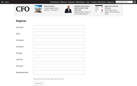 Screenshot of Signup Page cfo.com - Register | CFO - captured July 19, 2014