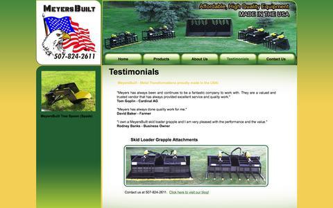 Screenshot of Testimonials Page meyersbuilt.com - Welcome to MeyersBuilt - Metal Transformations - captured Jan. 10, 2016