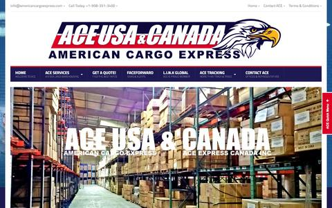 Screenshot of Home Page americancargoexpress.com - ACE USA & CANADA | American Cargo Express - captured July 25, 2016