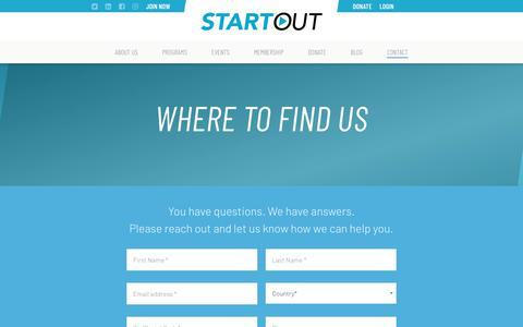 Screenshot of Contact Page startout.org - Contact   StartOut - captured Sept. 21, 2018