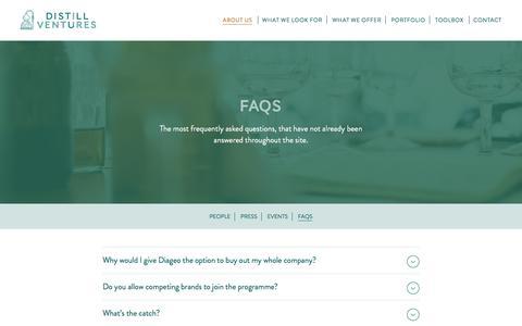 Screenshot of FAQ Page distillventures.com - FAQs - Distill Ventures - captured Aug. 2, 2016