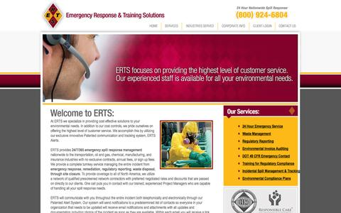 Screenshot of Home Page ertsonline.com - ERTS - EMERGENCY RESPONSE & TRAINING SOLUTIONS - Emergency response, waste management, remediation, regulatory reporting, environmental invoice auditing, DOT, OSHA, and EPA required training, incidental spill management and tracking, and prevention p - captured Oct. 2, 2014