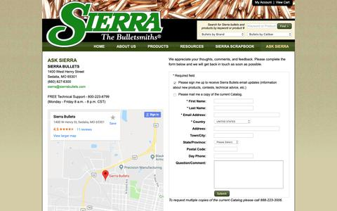 Screenshot of Maps & Directions Page sierrabullets.com - Ask Sierra - Sierra Bullets - The Bulletsmiths - captured Oct. 2, 2018