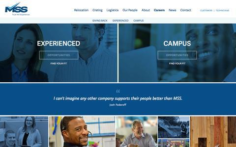 Screenshot of Jobs Page mss1.com - Careers | MSS - captured Nov. 2, 2014