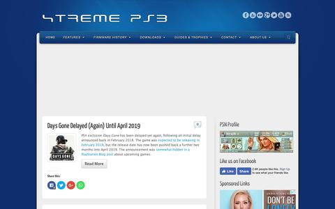 Screenshot of Home Page xtremeps3.com - XTREME PS3 | News, FAQs, Firmware History, Guides and Tutorials - captured Oct. 20, 2018