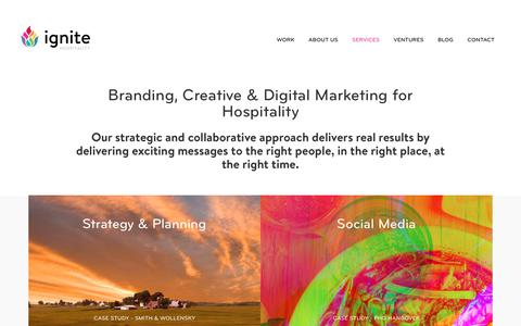 Screenshot of Services Page ignitehospitality.com - Marketing Services for Restaurants & Hotels | Ignite Hospitality Marketing Agency - captured Oct. 11, 2018