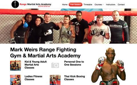 Screenshot of Home Page range-fighting.com - Range Martial Arts Academy | Mixed Martial Arts Training - captured June 9, 2016