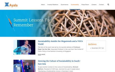 Screenshot of Blog ayala.com.ph - Summit Lessons To Remember | Ayala - captured Oct. 2, 2018