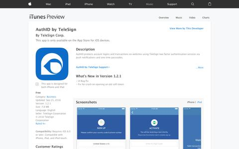AuthID by TeleSign on the App Store