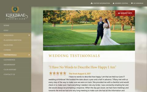 Screenshot of Testimonials Page kirkbrae.com - Wedding Testimonials - Kirkbrae Country Club | Golf, Swimming, Tennis, Wedding Receptions and Corporate Meetings in Lincoln, RI - captured Oct. 17, 2017