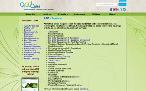 Screenshot of Services Page apdcares.org - Services | Customers - captured Oct. 14, 2017