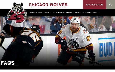 Screenshot of FAQ Page chicagowolves.com - FAQs | Ice Hockey Games | Things to do in Chicago - Chicago Wolves - captured Nov. 4, 2018