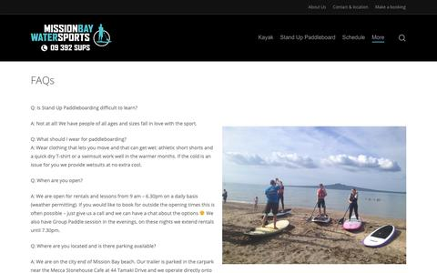 Screenshot of FAQ Page missionbaywatersports.co.nz - FAQs - Mission Bay Watersports - captured Nov. 20, 2018