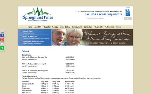 Screenshot of Pricing Page springhurstpines.org - Pricing | Springhurst Pines - captured July 9, 2017