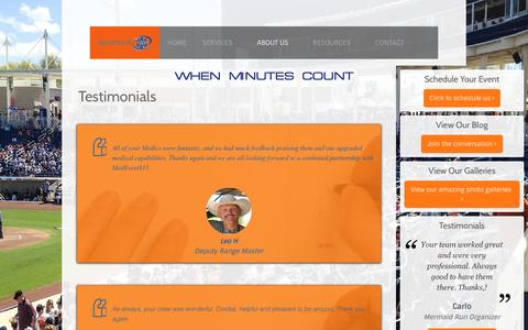 Screenshot of Testimonials Page medevent911.com - Testimonials - captured May 27, 2017
