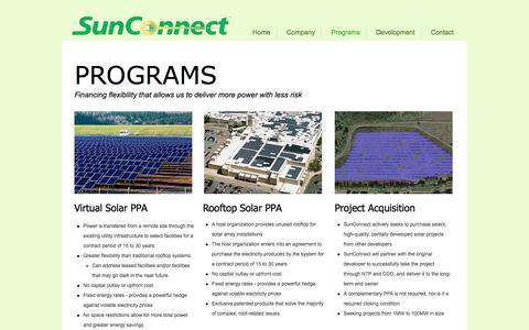 Screenshot of Services Page sunconnectusa.com - sunconnect | Programs - captured June 19, 2017