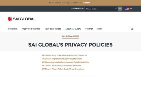 SAI Global's Privacy Policies - SAI Global