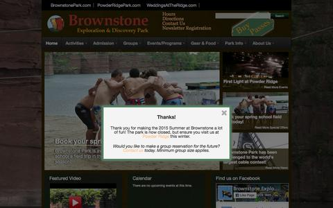 Screenshot of Home Page brownstonepark.com - Brownstone Park - Connecticut - Zip Lines, Wakeboards, Rock Climb, Water Slides and Toys, Scuba and Swim - captured Nov. 13, 2015