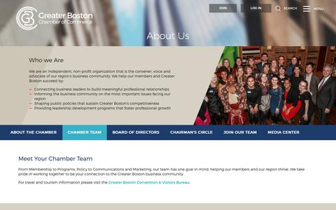 Screenshot of Team Page bostonchamber.com - Chamber Team | Greater Boston Chamber of Commerce - captured Sept. 30, 2018