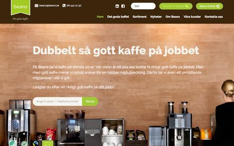 Screenshot of Home Page beans.se - Beans - Det goda kaffet - Kaffemaskiner för företag - Beans - captured Sept. 10, 2015