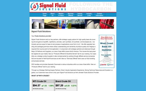 Screenshot of Home Page Menu Page signalfluidsolutions.com - Welcome to Signal Fluid Solutions - captured Sept. 30, 2014