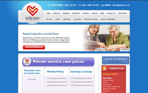 Screenshot of Pricing Page wiicare.co.uk - Pricing | Wiicare Ltd - captured Nov. 4, 2014