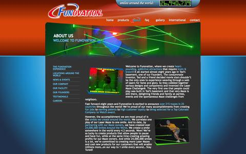 Screenshot of About Page funovation.com - About Funovation: leader in custom designing, building & installing laser mazes & FEC attractions - captured Sept. 30, 2014