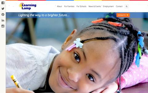 Screenshot of Home Page thelearninglamp.org - The Learning Lamp - tutoring, preschool, child care, camps - captured Feb. 25, 2016