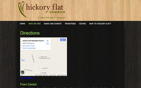 Screenshot of Maps & Directions Page hickoryflat.org - directions «  Hickory Flat Church - captured Oct. 1, 2014