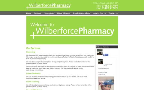 Screenshot of Services Page wilberforcepharmacy.co.uk - Wilberforce Pharmacy, Hull  |  Services - captured Oct. 7, 2014