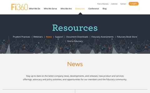 Screenshot of Press Page fi360.com - News | Fi360 - captured Sept. 6, 2018