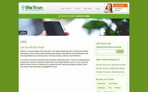 Screenshot of Jobs Page iretron.com - Jobs - iReTron.com - captured Feb. 4, 2016