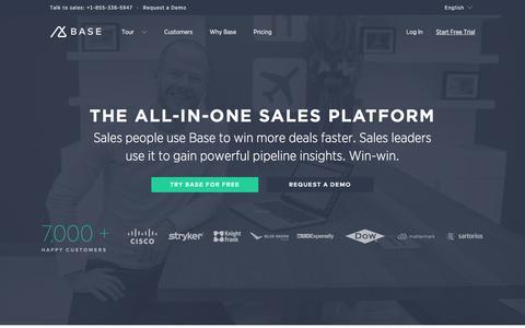 Screenshot of Home Page getbase.com - Intelligent CRM & All-in-one Sales Platform | Base CRM - captured Feb. 25, 2016
