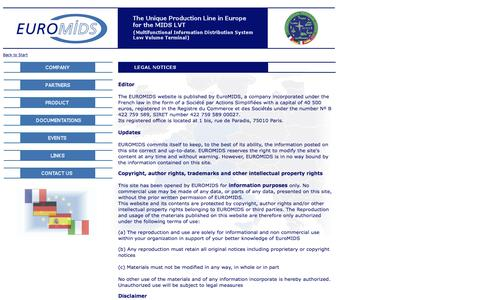 Screenshot of Terms Page euromids.com - EuroMIDS SAS - captured July 10, 2016