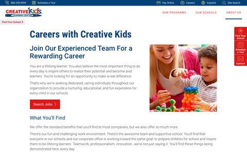 Screenshot of Jobs Page creativekidslearningcenter.com - Teaching Jobs in Las Vegas   Creative Kids Learning Center - captured July 23, 2018