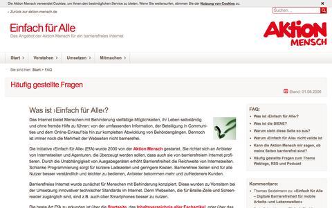 Screenshot of FAQ Page einfach-fuer-alle.de - Häufig gestellte Fragen (FAQ): Einfach für Alle - captured Dec. 1, 2016