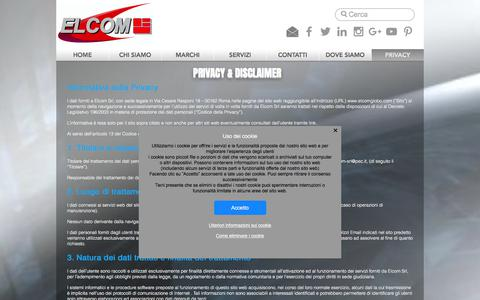 Screenshot of Privacy Page elcomglobo.com - elcom   PRIVACY - captured July 10, 2017