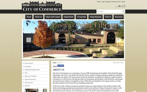 Screenshot of About Page commercega.org - City of Commerce | City of Commerce, GA, About Us - captured March 10, 2016