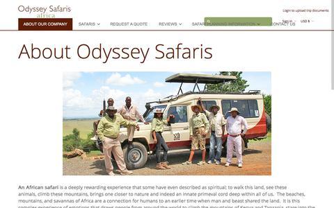 Screenshot of About Page odysseysafaris.com - About Odyssey Safaris - African Safaris, Kenya Safari, Tanzania Safari - captured Sept. 24, 2016