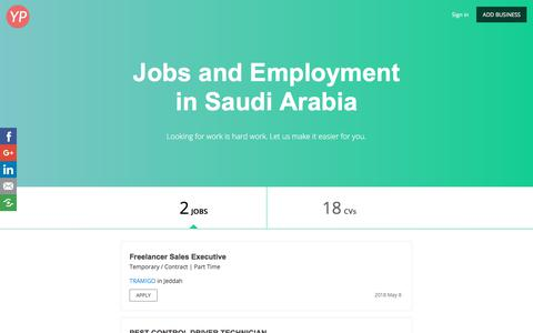 Screenshot of Jobs Page saudiayp.com - Jobs and Employment<br/> in Saudi Arabia - 2 Openings - captured Sept. 23, 2018
