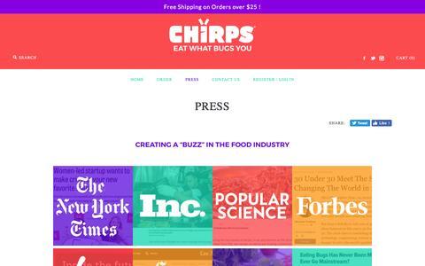 Screenshot of Press Page sixfoods.com - Press – Chirps Chips - captured July 22, 2016