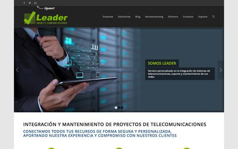 Screenshot of Home Page leader-network.com - Leader Network Valencia | Cisco, Aruba, Fortinet, Avaya IP - captured Jan. 22, 2016